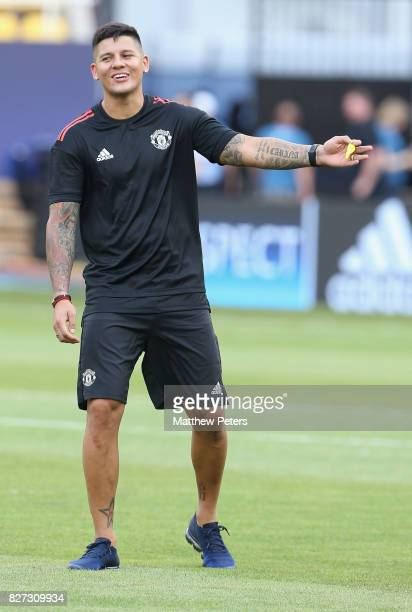 Marcos Rojo of Manchester United in action during a training session ahead of the UEFA Super Cup match between Manchester United and Real Madrid on...