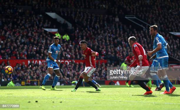 Marcos Rojo of Manchester United scores his sides first goal during the Premier League match between Manchester United and AFC Bournemouth at Old...