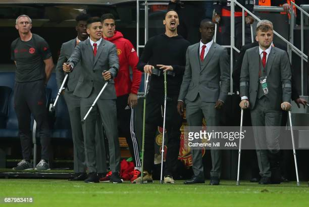 Marcos Rojo Zlatan Ibrahimovic Eric Bailly and Luke Shaw of Manchester United during the UEFA Europa League Final match between Ajax and Manchester...