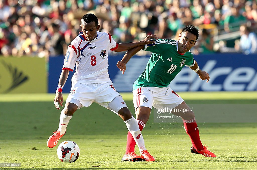 Marcos Sanchez #8 of Panama battles for the ball against <a gi-track='captionPersonalityLinkClicked' href=/galleries/search?phrase=Marco+Fabian&family=editorial&specificpeople=5477014 ng-click='$event.stopPropagation()'>Marco Fabian</a> #10 of Mexico during the first round of the 2013 CONCACAF Gold Cup at the Rose Bowl on July 7, 2013 in Pasadena, California. Panama won 2-1.