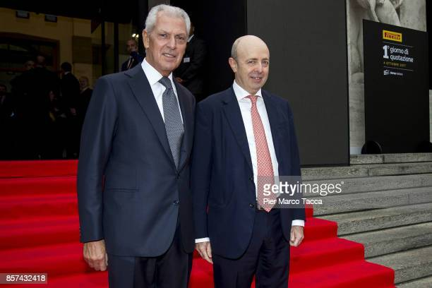 MarcoTronchetti Provera CEO of Pirelli and Raffaele Jerusalmi CEO of Borsa Italiana attend a ceremony announcing the return of Pirelli to the Milan...