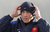 France's captain Jerome Thion attends 24 November 2005 a training session at the Rugby Union National Center in Marcoussis French players will play...