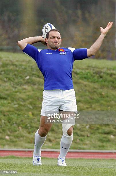 French captain and hooker Raphael Ibanez practices during a training session at the French rugby union national center in Marcoussis 22 November 2006...