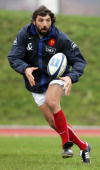 French flanker Sebastien Chabal practices during a training session at the Rugby Union National Center in Marcoussis 02 February 2005 French players...