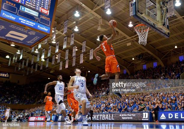Marcquise Reed of the Clemson Tigers drives for a dunk against the Duke Blue Devils during the game at Cameron Indoor Stadium on February 11 2017 in...