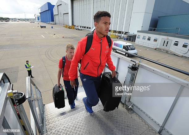 Marcus AgyeiTabi of Arsenal boards the plane for the flight to Zagreb ahead of their UEFA Champions League match against Dinamo Zagreb on September...