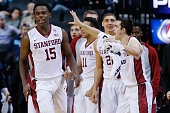 Marcus Allen of the Stanford Cardinal celebrates after hitting the go ahead basket in the final seconds of the second half against the Arkansas...