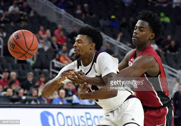 Marcus Allen of the Stanford Cardinal knocks the ball away from Shannon Evans II of the Arizona State Sun Devilsduring a firstround game of the Pac12...