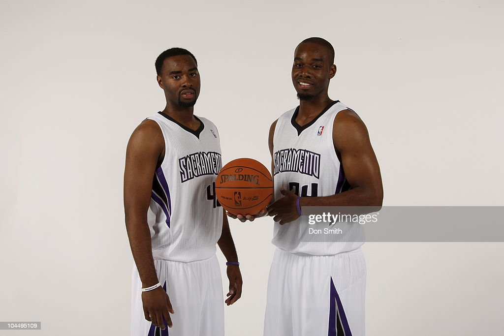 Marcus and Carl Landry of the Sacramento Kings poses for a portrait during 2010 NBA Media Day on September 27 2010 at ARCO Arena in Sacramento...