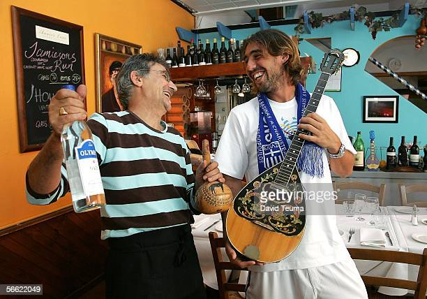 Marcus Baghdetis of Cyprus takes a trip to Tsindos Greek restaurant during day four of the Australian Open January 19 2006 in Melbourne Australia