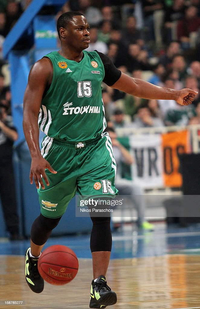 <a gi-track='captionPersonalityLinkClicked' href=/galleries/search?phrase=Marcus+Banks&family=editorial&specificpeople=201469 ng-click='$event.stopPropagation()'>Marcus Banks</a>, #15 of Panathinaikos Athens in action during the 2012-2013 Turkish Airlines Euroleague Top 16 Date 1 between Panathinaikos Athens v Zalgiris Kaunas at OAKA on December 28, 2012 in Athens, Greece.