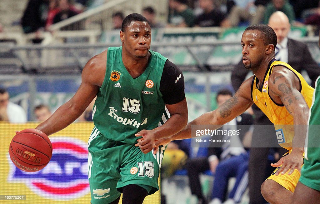 <a gi-track='captionPersonalityLinkClicked' href=/galleries/search?phrase=Marcus+Banks&family=editorial&specificpeople=201469 ng-click='$event.stopPropagation()'>Marcus Banks</a>, #15 of Panathinaikos Athens in action during the 2012-2013 Turkish Airlines Euroleague Top 16 Date 11 between Panathinaikos Athens v Alba Berlin at OAKA on March 15, 2013 in Athens, Greece.
