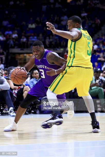 Marcus Banks of the Ghost Ballers dribbles the ball while being guarded by Dominic McGuire of the Ball Hogs during week three of the BIG3 three on...