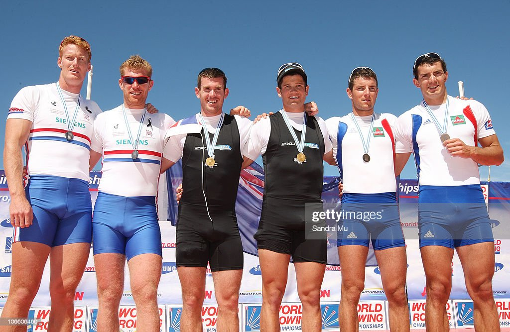Marcus Bateman and <a gi-track='captionPersonalityLinkClicked' href=/galleries/search?phrase=Matthew+Wells+-+Rower&family=editorial&specificpeople=15378597 ng-click='$event.stopPropagation()'>Matthew Wells</a> of Great Britain, Joseph Sullivan and Nathan Cohen of New Zealand and <a gi-track='captionPersonalityLinkClicked' href=/galleries/search?phrase=Julien+Bahain&family=editorial&specificpeople=616193 ng-click='$event.stopPropagation()'>Julien Bahain</a> and <a gi-track='captionPersonalityLinkClicked' href=/galleries/search?phrase=Cedric+Berrest&family=editorial&specificpeople=2266494 ng-click='$event.stopPropagation()'>Cedric Berrest</a> of France pose after winning silver, gold and bronze respectively in the Men's Double Sculls Final during day eight of the World Rowing Championships at Lake Karapiro on November 7, 2010 in Cambridge, New Zealand.