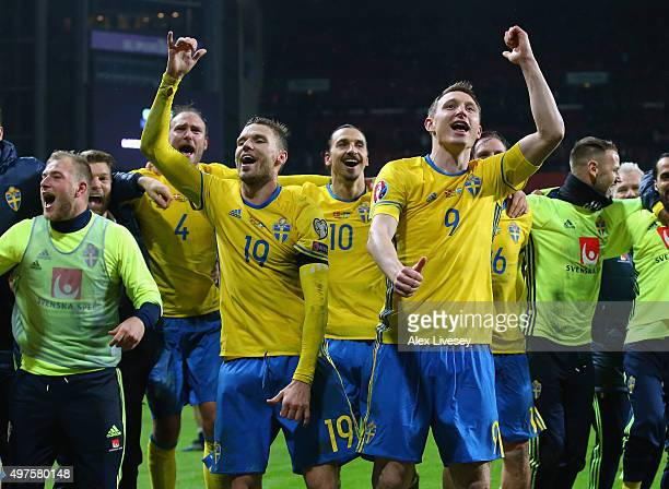 Marcus Berg and Kim Kallstrom of Sweden celebrate after the UEFA EURO 2016 Qualifier PlayOff Second Leg match between Denmark and Sweden at Parken...
