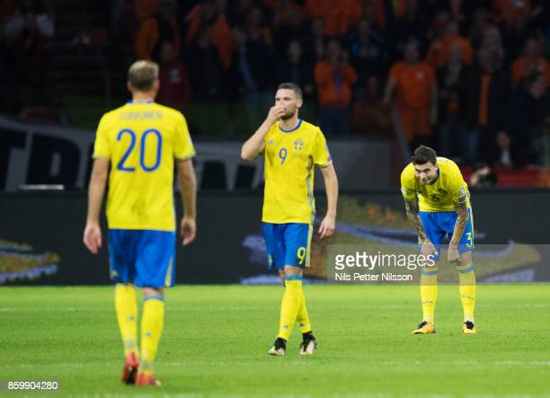 Marcus Berg and Victor Nilsson Lindelof of Sweden dejected during the FIFA 2018 World Cup Qualifier between Netherlands and Sweden at Amsterdam ArenA...
