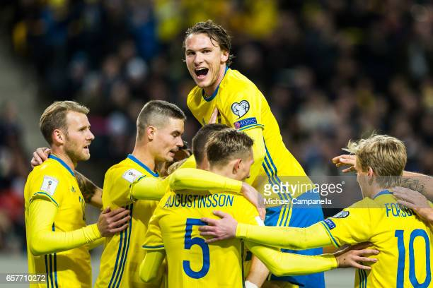 Marcus Berg Ludwig Augustinsson Mikael Lustig Emil Forsberg and Albin Ekdal of Sweden celebrates scoring the 30 goal during the FIFA 2018 World Cup...