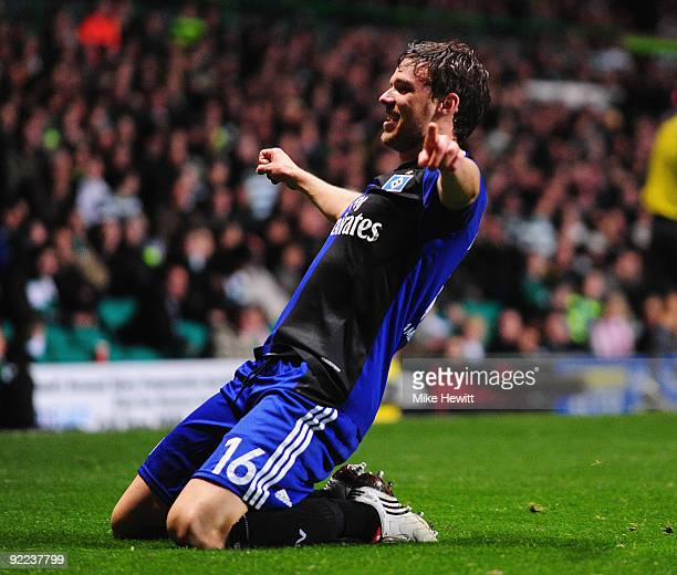 Marcus Berg of Hamburger SV celebrates after scoring his team's first goal during the UEFA Europa League Group C match between Celtic and Hamburger...