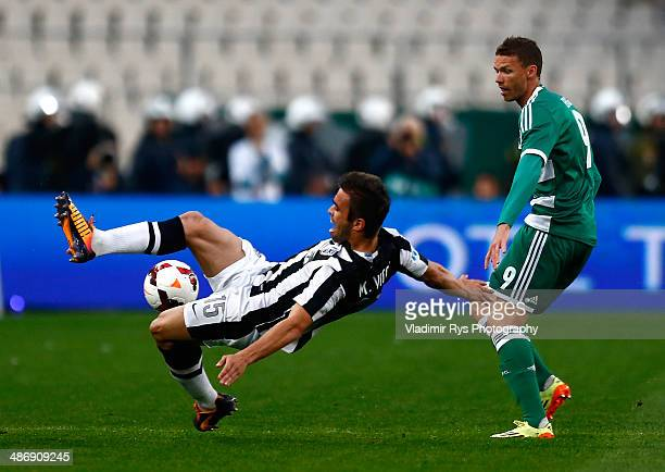 Marcus Berg of Panathinaikos and Miguel Vitor of PAOK battle for the ball during the Greek Cup Final match between PAOK and Panathinaikos FC at the...