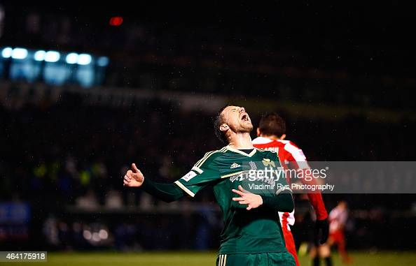 Marcus Berg of Panathinaikos reacts after missing a chance during the Superleague match between Panathinaikos FC and Olympiacos at Apostolos...