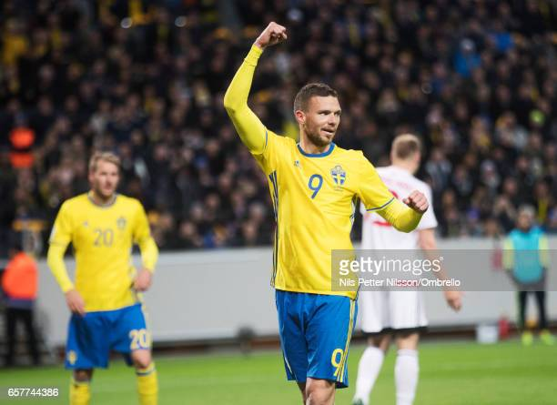 Marcus Berg of Sweden celebrates after scoring to 30 during the FIFA 2018 World Cup Qualifier between Sweden and Belarus at Friends arena on March 25...
