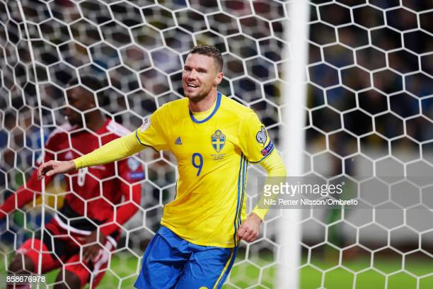 Marcus Berg of Sweden celebrates after scoring to 30 during the FIFA 2018 World Cup Qualifier between Sweden and Luxembourg at Friends Arena on...