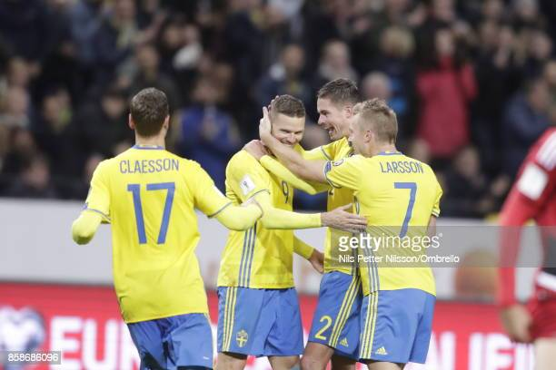Marcus Berg of Sweden celebrates after scoring to 40 during the FIFA 2018 World Cup Qualifier between Sweden and Luxembourg at Friends Arena on...