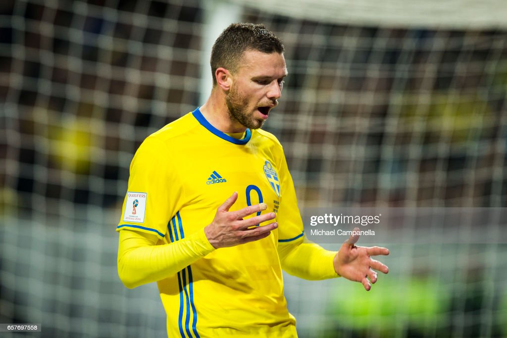Marcus Berg of Sweden dejected after a missed chance on goal during the FIFA 2018 World Cup Qualifier between Sweden and Belarus at Friends arena on March 25, 2017 in Solna, Sweden.