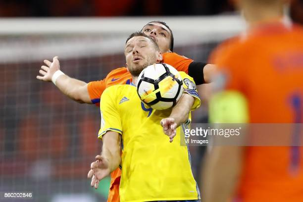 Marcus Berg of Sweden Karim Rekik of Holland during the FIFA World Cup 2018 qualifying match between The Netherlands and Sweden at the Amsterdam...