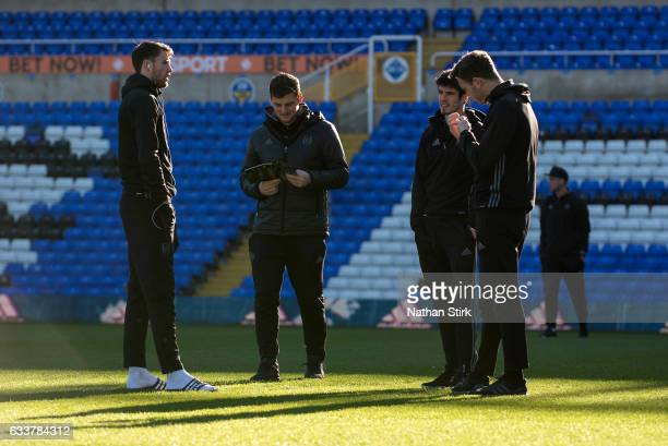 Marcus Bettinelli Chris Martin Lucas Piazon and Kevin McDonald of Fulham look on before the Sky Bet Championship match between Birmingham City and...