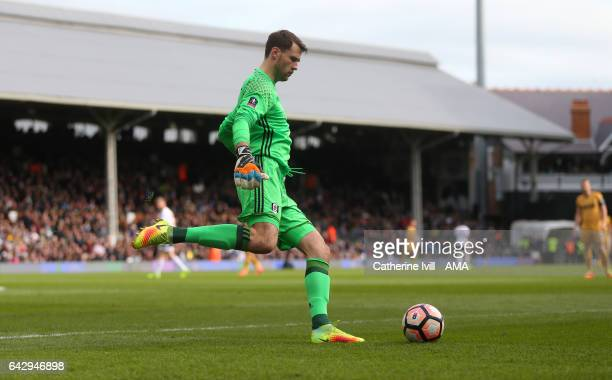 Marcus Bettinelli of Fulham during The Emirates FA Cup Fifth Round match between Fulham and Tottenham Hotspur at Craven Cottage on February 19 2017...