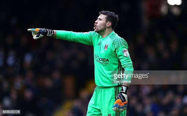 Marcus Bettinelli of Fulham FC gives his team instructions during The Emirates FA Cup Fourth Round match between Fulham and Hull City at Craven...