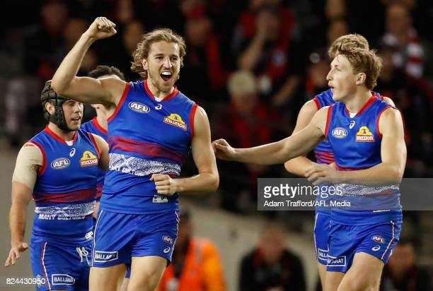 Marcus Bontempelli of the Bulldogs celebrates a goal during the 2017 AFL round 19 match between the Western Bulldogs and the Essendon Bombers at...
