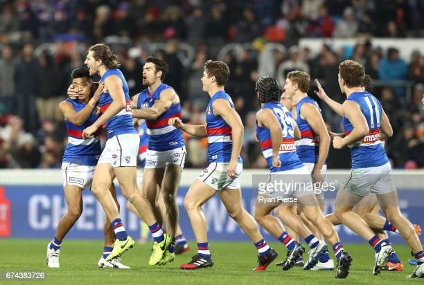 Marcus Bontempelli of the Bulldogs celebrates a goal during the round six AFL match between the Greater Western Sydney Giants and the Western...