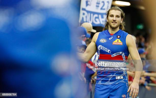 Marcus Bontempelli of the Bulldogs celebrates during the 2017 AFL round 10 match between the Western Bulldogs and the St Kilda Saints at Etihad...