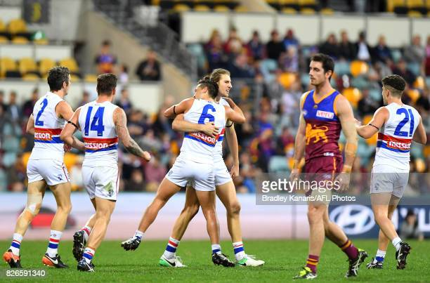 Marcus Bontempelli of the Bulldogs celebrates kicking a goal during the round 20 AFL match between the Brisbane Lions and the Western Bulldogs at The...