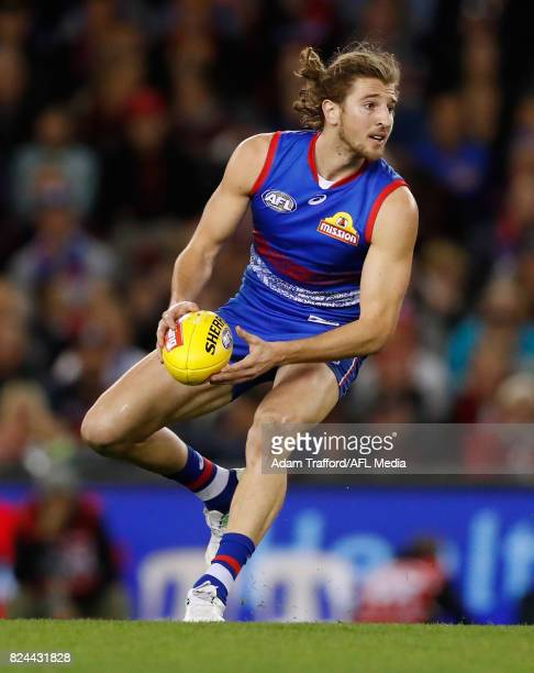 Marcus Bontempelli of the Bulldogs in action during the 2017 AFL round 19 match between the Western Bulldogs and the Essendon Bombers at Etihad...
