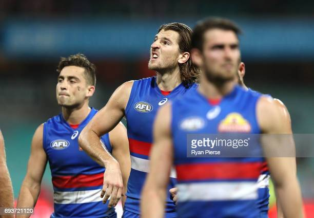 Marcus Bontempelli of the Bulldogs looks dejected after the round 12 AFL match between the Sydney Swans and the Western Bulldogs at Sydney Cricket...