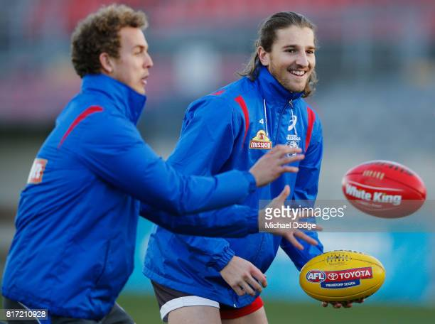 Marcus Bontempelli of the Bulldogs looks on during a Western Bulldogs AFL training session at Whitten Oval on July 18 2017 in Melbourne Australia