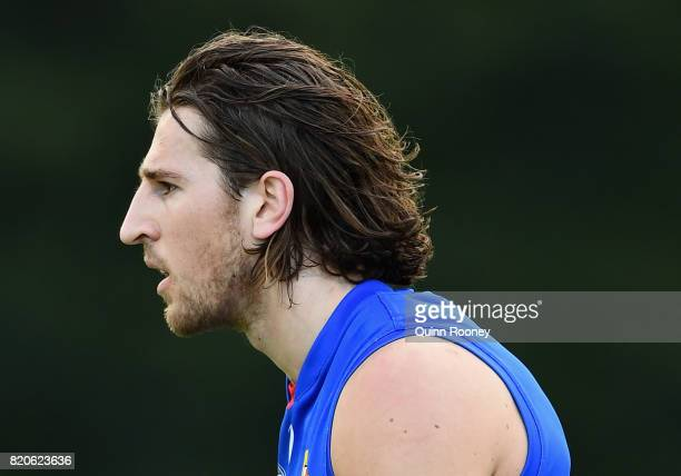 Marcus Bontempelli of the Bulldogs looks on during the round 18 AFL match between the Western Bulldogs and the Gold Coast Suns at Cazaly's Stadium on...