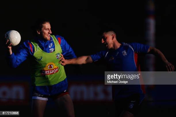 Marcus Bontempelli of the Bulldogs looks upfield during a Western Bulldogs AFL training session at Whitten Oval on July 18 2017 in Melbourne Australia
