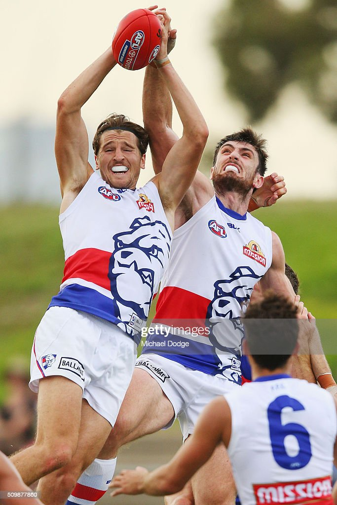 Marcus Bontempelli of the Bulldogs marks the ball during the Western Bulldogs AFL intra-club match at Whitten Oval on February 13, 2016 in Melbourne, Australia.