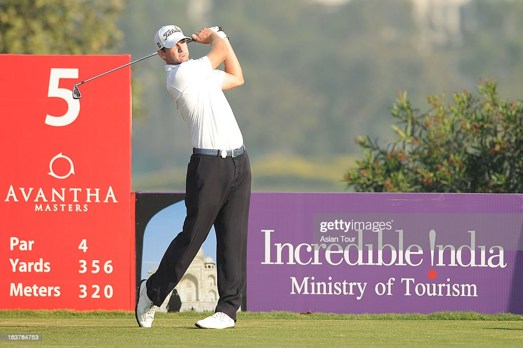 Marcus Both of Australia in action during day 3 of the Avantha Masters at Jaypee Greens Golf Course on March 16, 2013 in Noida, India.
