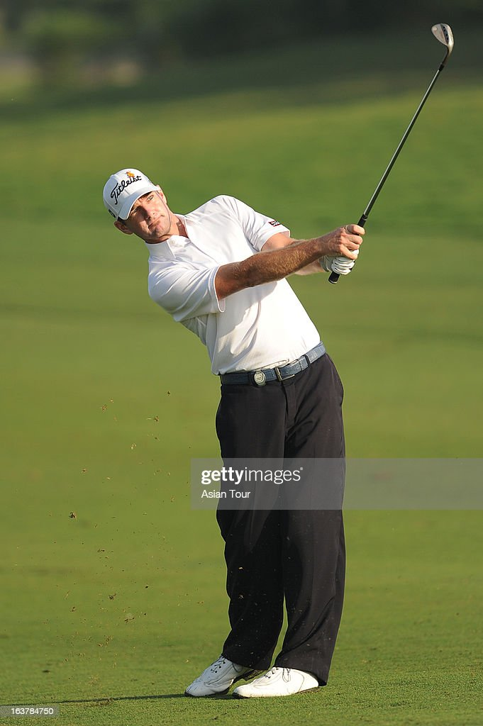 Marcus Both of Australia plays a shot during day 3 of the Avantha Masters at Jaypee Greens Golf Course on March 16, 2013 in Noida, India.