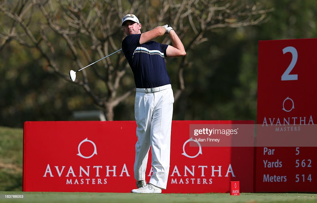 Marcus Both of Australia tees off on hole 2 during day two of the Avantha Masters at Jaypee Greens Golf Club on March 15, 2013 in Delhi, India.