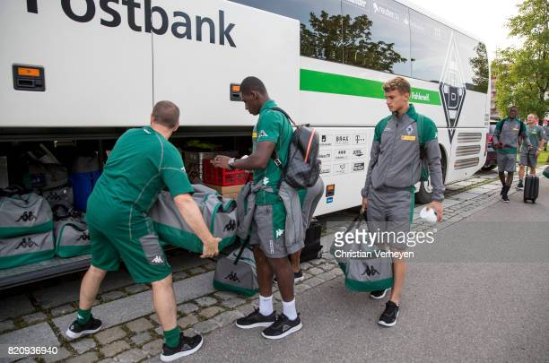 Marcus Breuer Mamadou Doucoure and Michael Cuisance of Borussia Moenchengladbach leave the Training Camp of Borussia Moenchengladbach on July 22 2017...