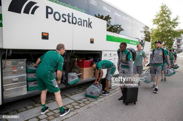 Marcus Breuer Raffael Denis Zakaria Co Trainer Dirk Bremser and Christoph Kramer of Borussia Moenchengladbach leave the Training Camp of Borussia...