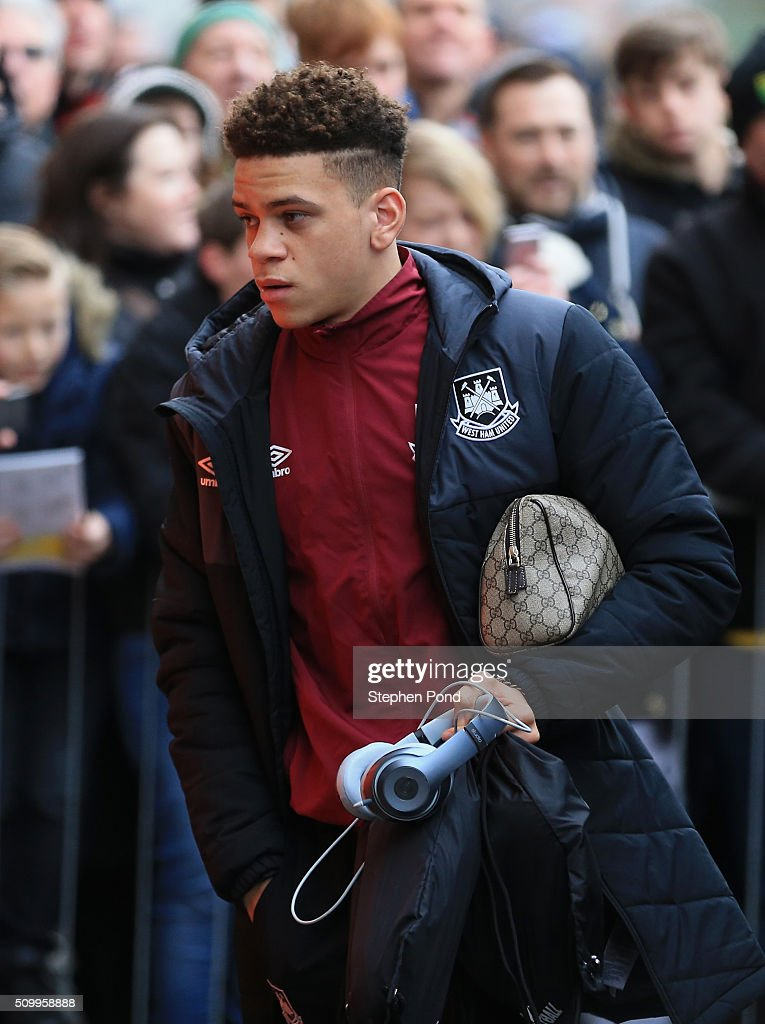 Marcus Browne of West Ham United is seen on arrival at the stadium prior to the Barclays Premier League match between Norwich City and West Ham United at Carrow Road on February 13, 2016 in Norwich, England.