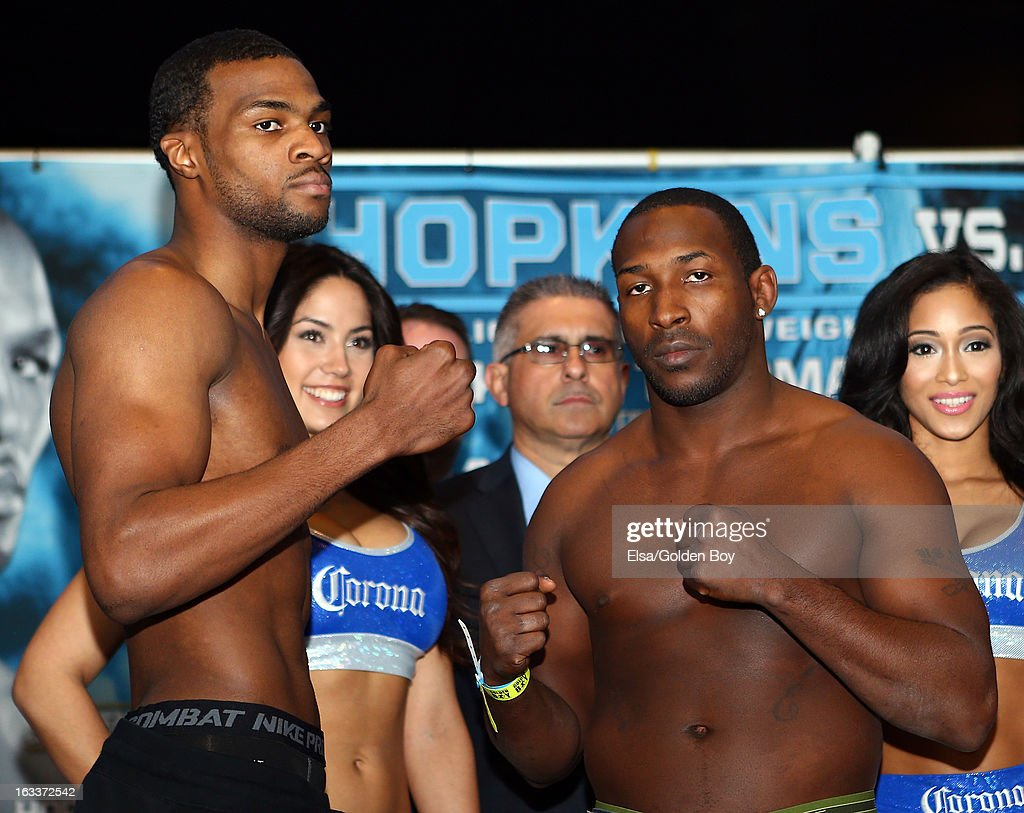 Marcus Browne v Josh Thorpe pose after the weigh in on March 8, 2013 at the Barclays Center in the Brooklyn borough of New York City.
