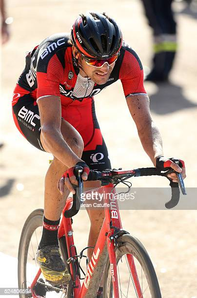 Marcus Burghardt of Germany and BMC Racing Team at the finish of ParisRoubaix 2016 cycling race at Velodrome of Roubaix on April 10 2016 in Roubaix...
